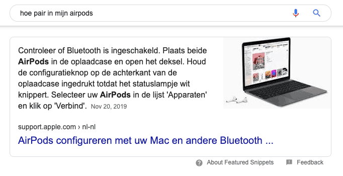 Structured data, structured snippet
