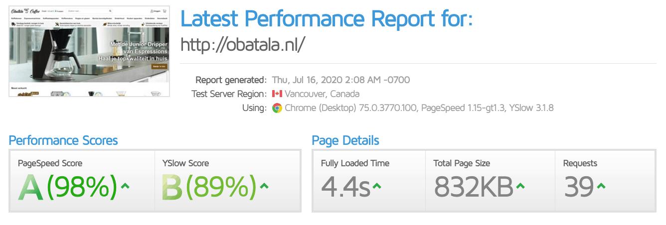 GTMetrix performance test FTLShop