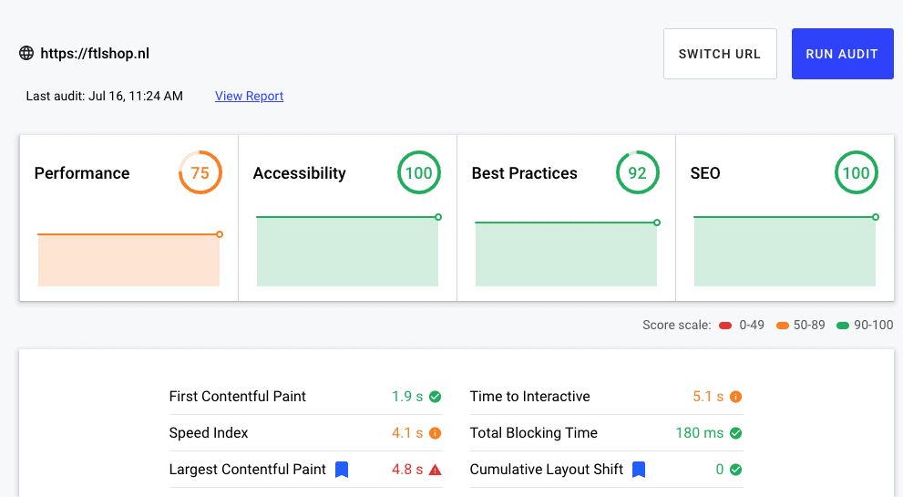 FTLShop Web.dev performance test