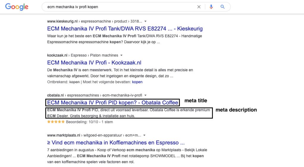 Meta title en meta description in de zoekresultaten van Google
