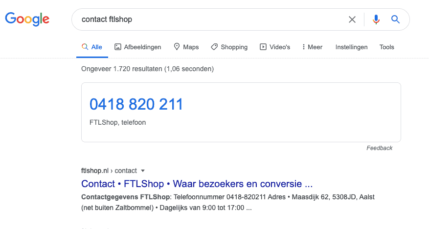 Structured data en meta descriptions van FTLShop contact in Google